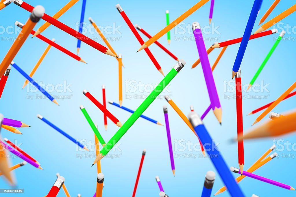 Many Multicolour Pencils Flying. 3d Rendering stock photo