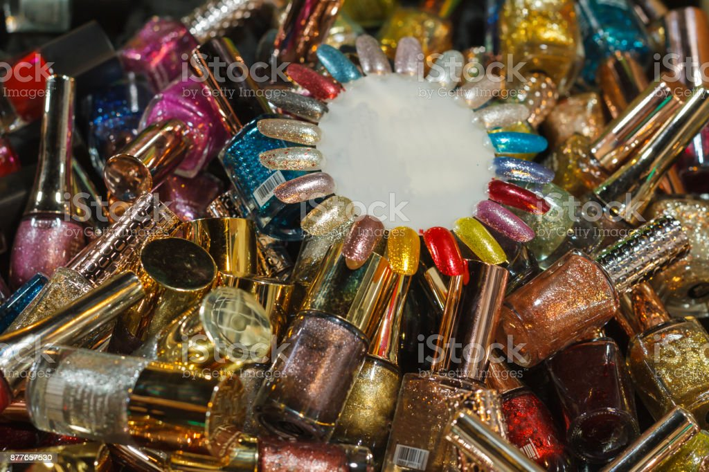 Many nail polish bottle. stock photo