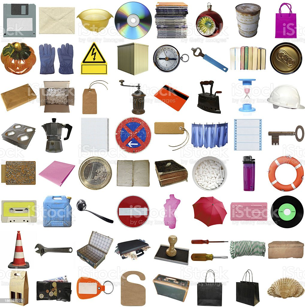 Many objects isolated stock photo