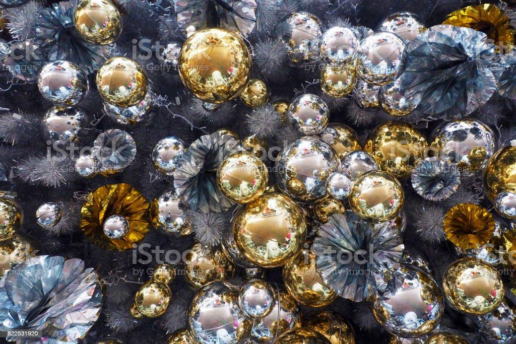 many of christmas celebration balls background stock photo