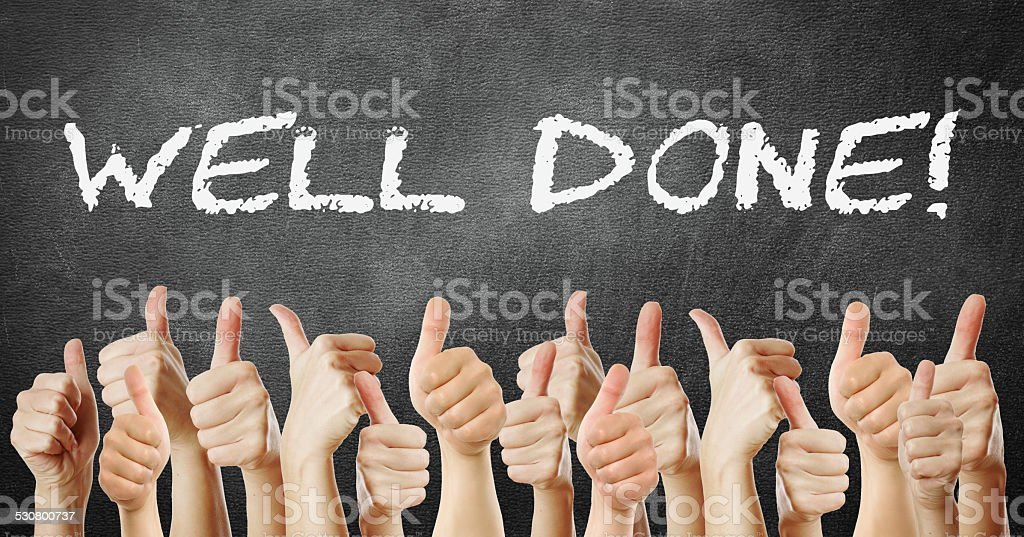 many of thumb go up well done stock photo