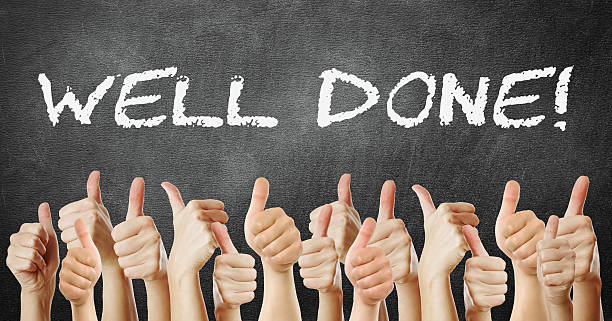 many of thumb go up well done - well done stock photos and pictures