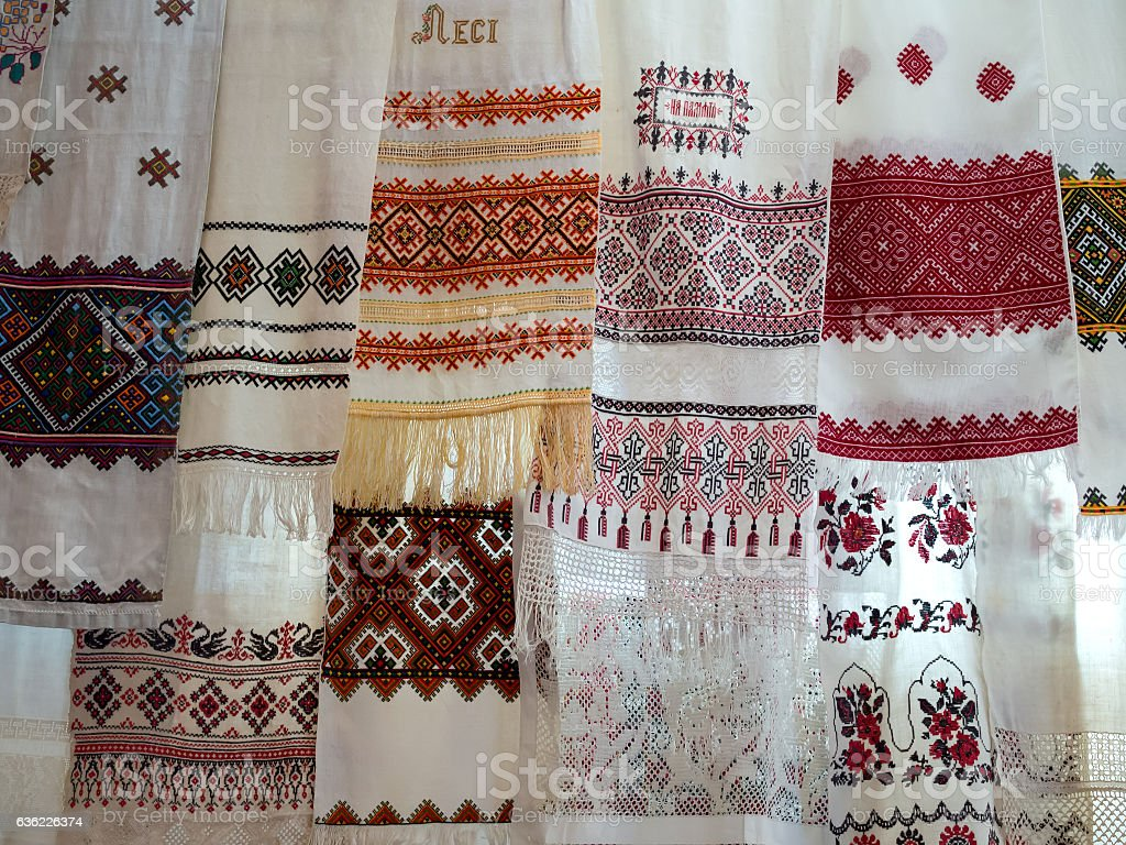 Many old Ukrainian national towels with embroidered stock photo