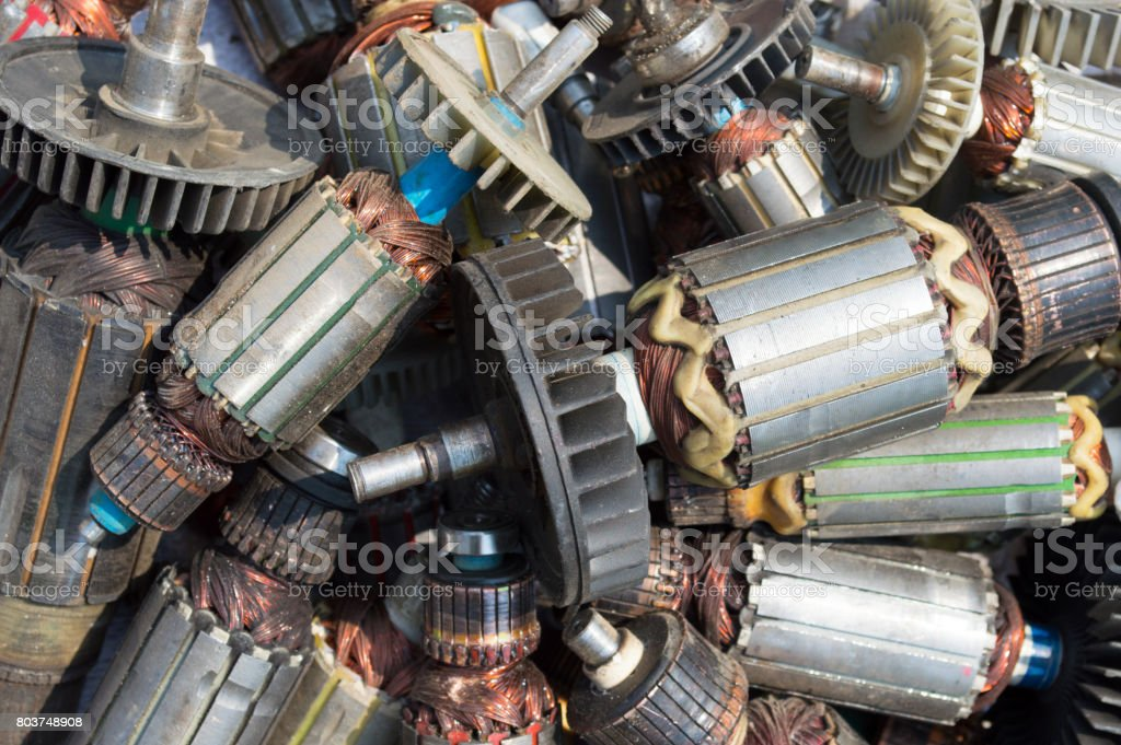 Many old used Rotor of electric motor background stock photo