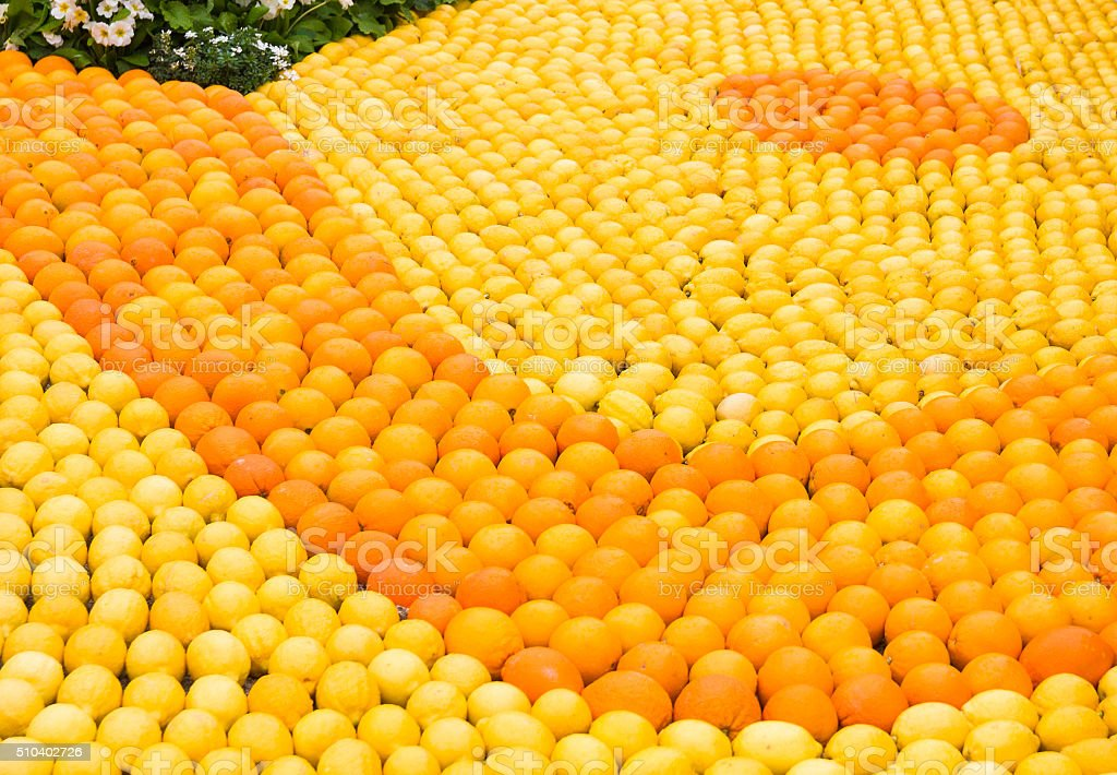 Many oranges and lemons during the festival of Menton, France stock photo