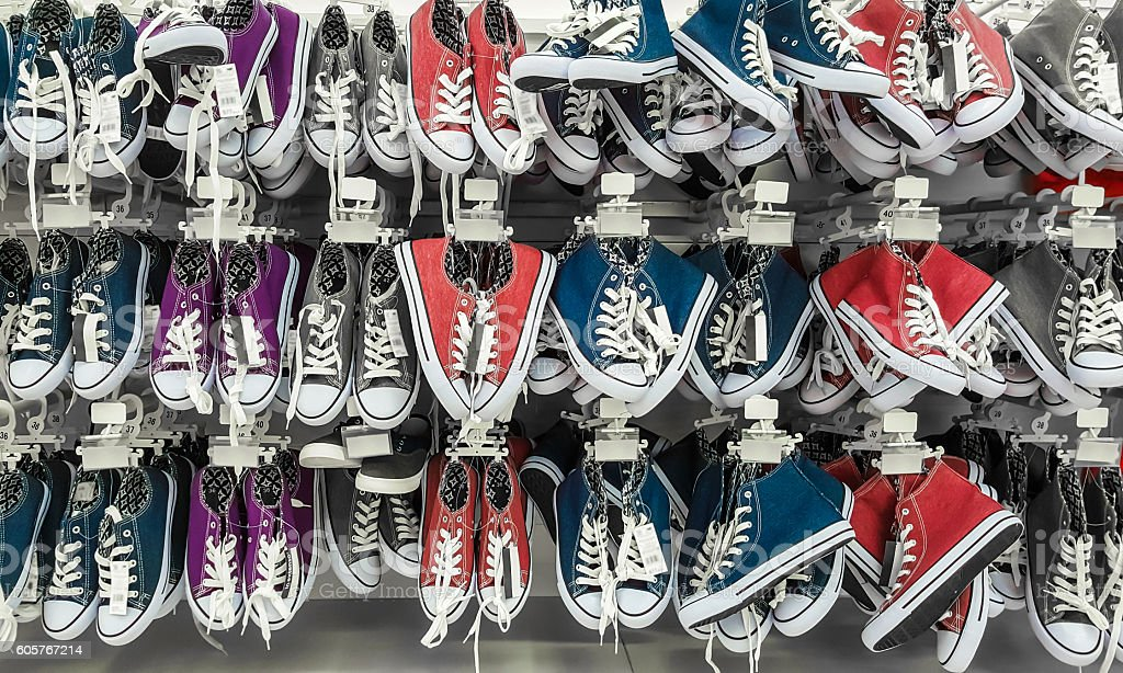 Many pair of sneakers in a store. – Foto