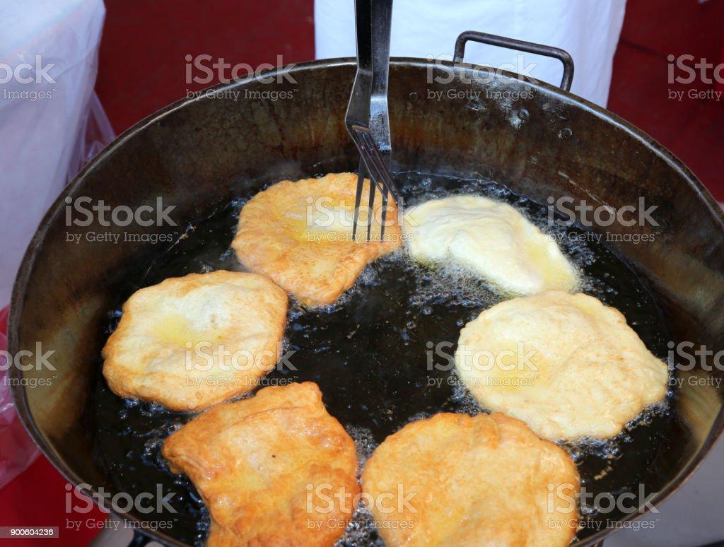 many pancake called FRITTELLE in italian language stock photo