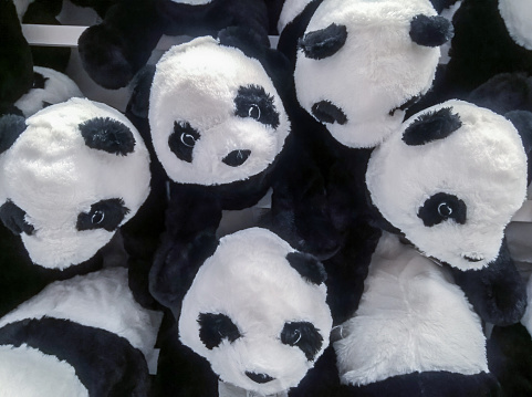 many panda dolls hang on the wall for sale in store.