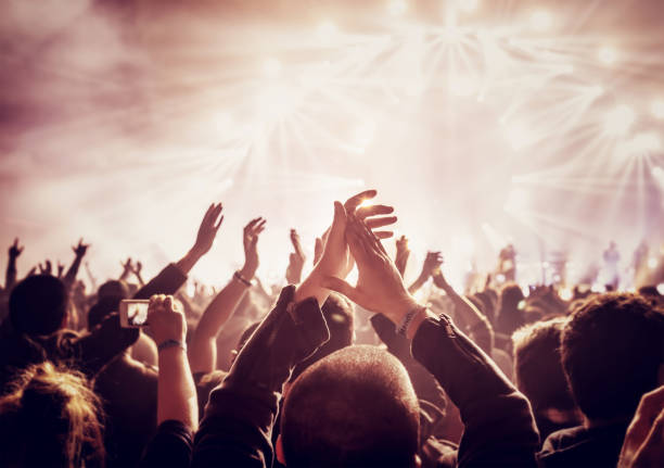 many people enjoying concert - rock music stock pictures, royalty-free photos & images