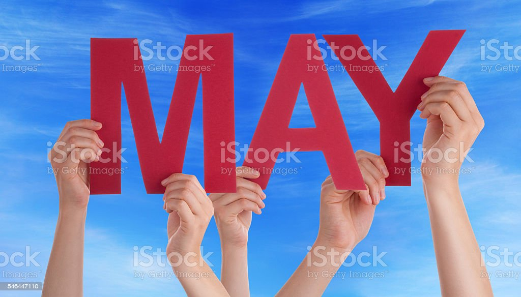 Many People Hands Holding Red Straight Word May Blue Sky stock photo