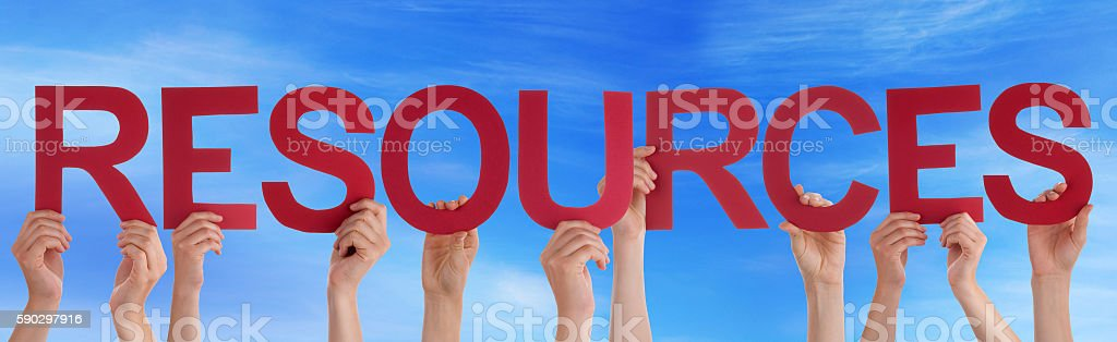 Many People Hands Holding Red Straight Word Resources Blue Sky Стоковые фото Стоковая фотография