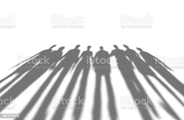 Many people long shadows, isolated on white. Many people long shadows, isolated on white, 3d render. 2015 Stock Photo