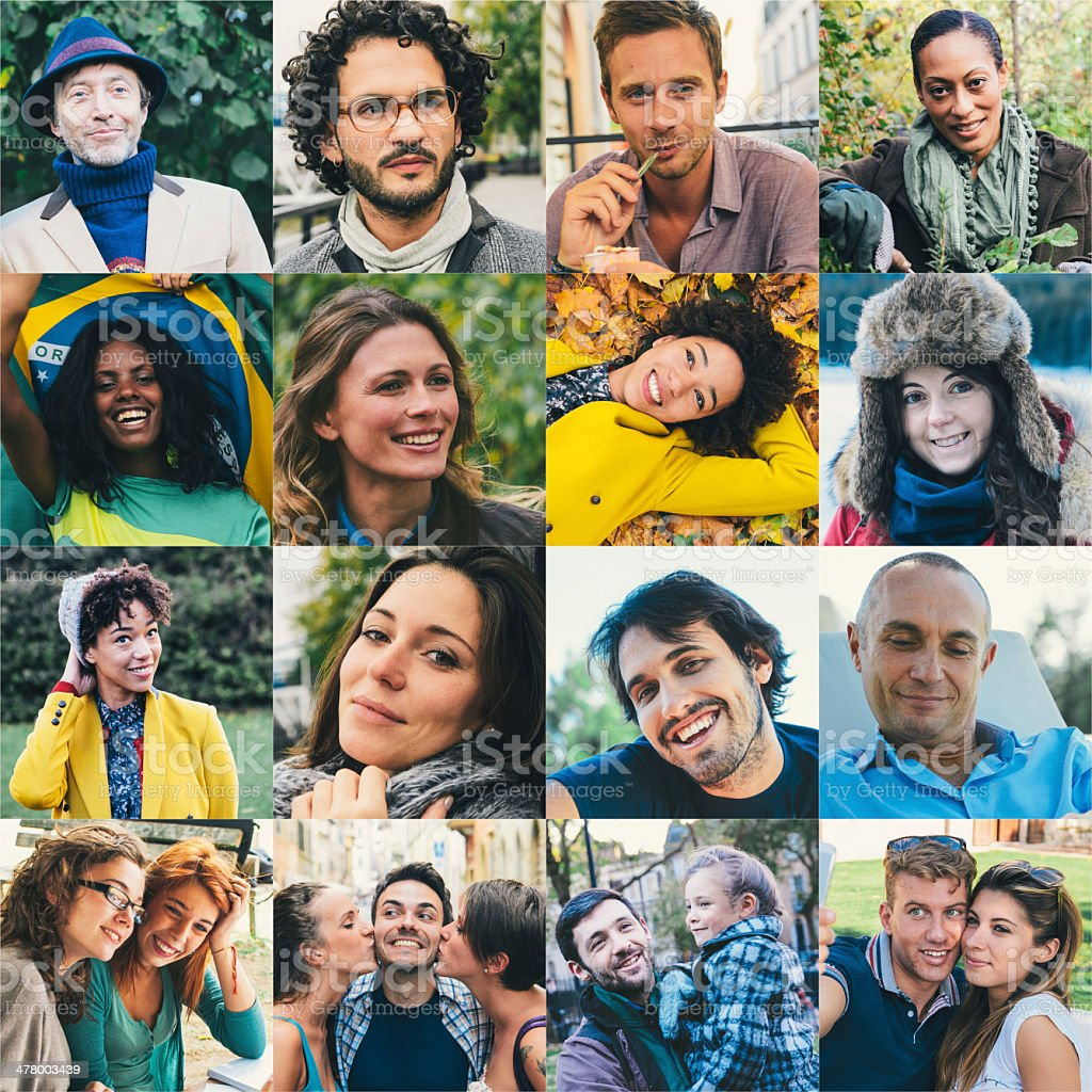Many people portrait royalty-free stock photo