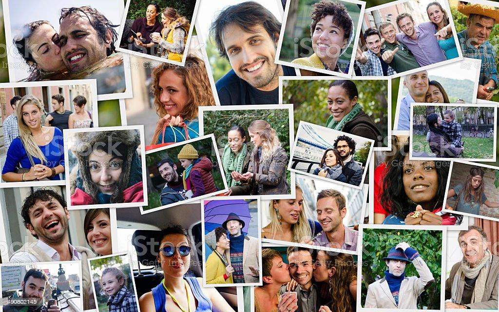 Many people portrait stock photo