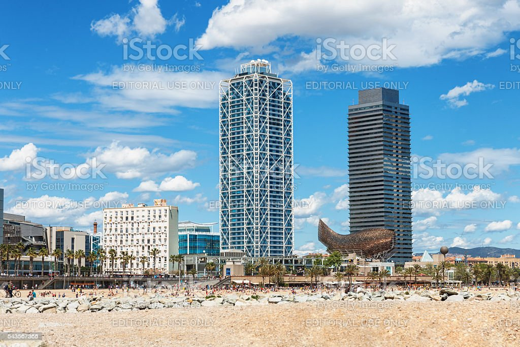 Barcelona, Spain - April 17, 2016: many people walk and stock photo