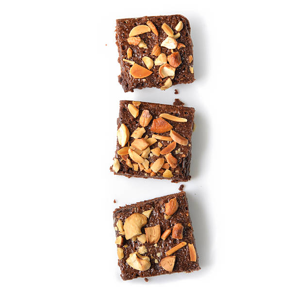 Many pieces of brownie - isolated - foto stock