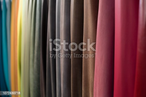 Many pieces of colored natural leather