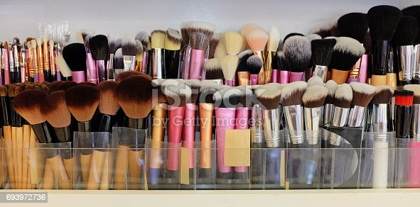 istock Many professional makeup brushes in different type. 693972736