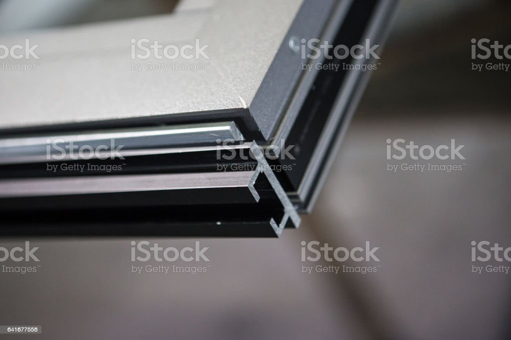 Many profiles./Aluminum aluminum color, industrial processes stock photo