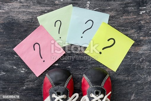 954712506istockphoto Many question marks before sneakers. Black background. 938389478