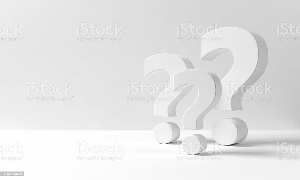 Many question marks on a neutral white background stock photo