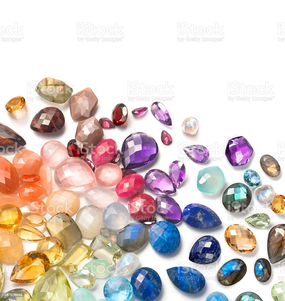 Many real gemstones on the white background. stock photo