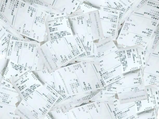 many receipts - scontrino foto e immagini stock