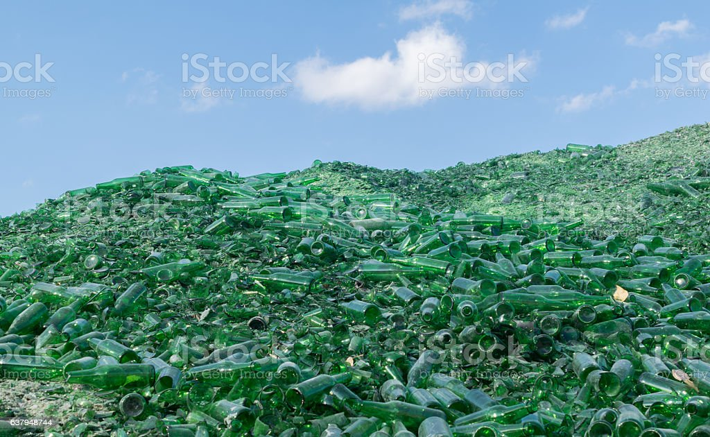 many recycle pieces of broken glass bottles stock photo
