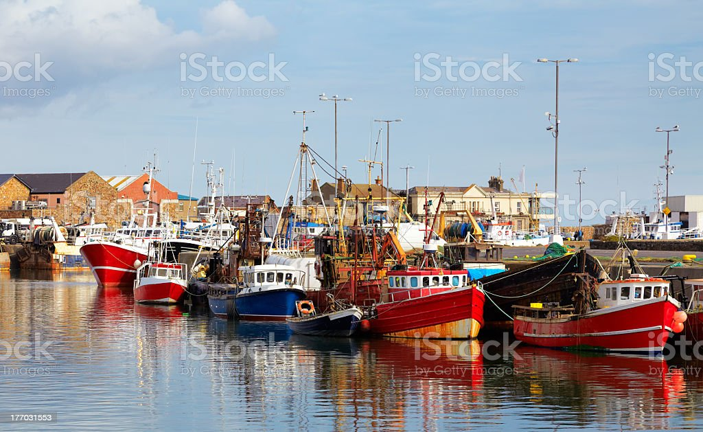 Many red and blue boats on the water in Howth harbor stock photo