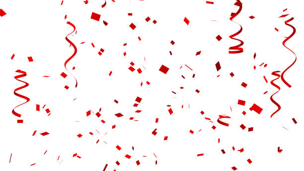 Many red confetti and ribbon on white background for celebration event and party for New Year, Birthday party, Christmas or any holiday. 3d abstract Illustration stock photo