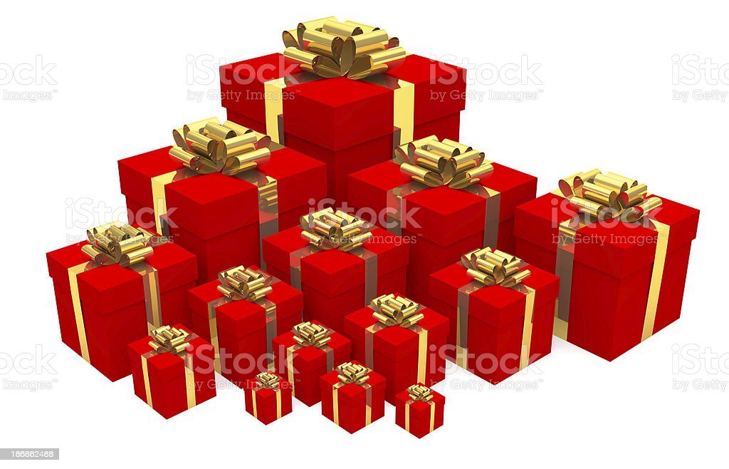 Many red gifts royalty-free stock photo