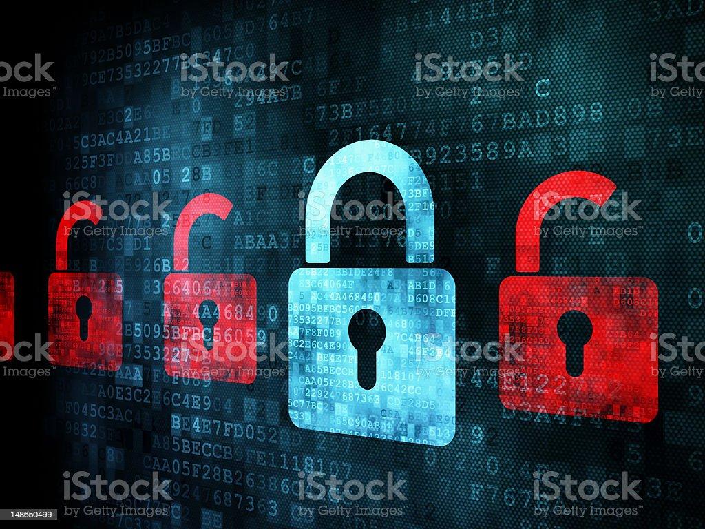 Many red opened locks around one closed blue lock Security concept: many red opened locks around one closed blue lock over digital background. Abstract Stock Photo