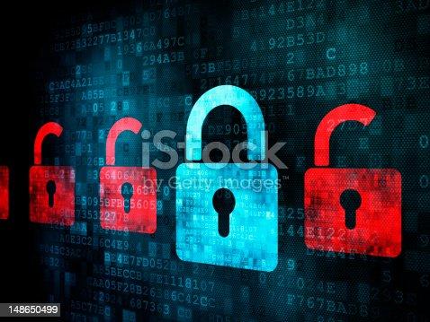 913014074 istock photo Many red opened locks around one closed blue lock 148650499