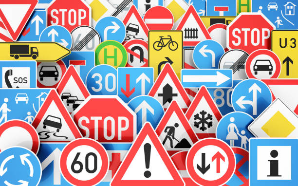 viele verkehrsschilder - road signs stock photos and pictures
