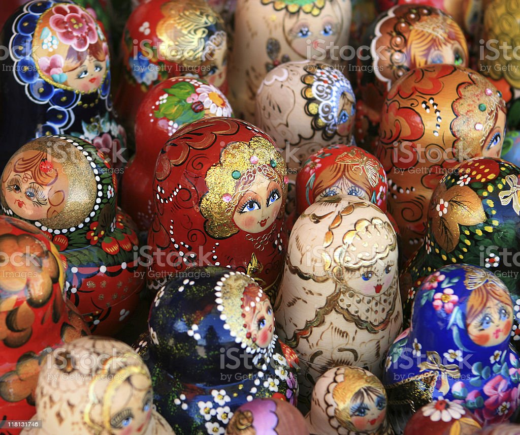 Many Russian Matryoshka Dolls For Sale at the souvenir market royalty-free stock photo