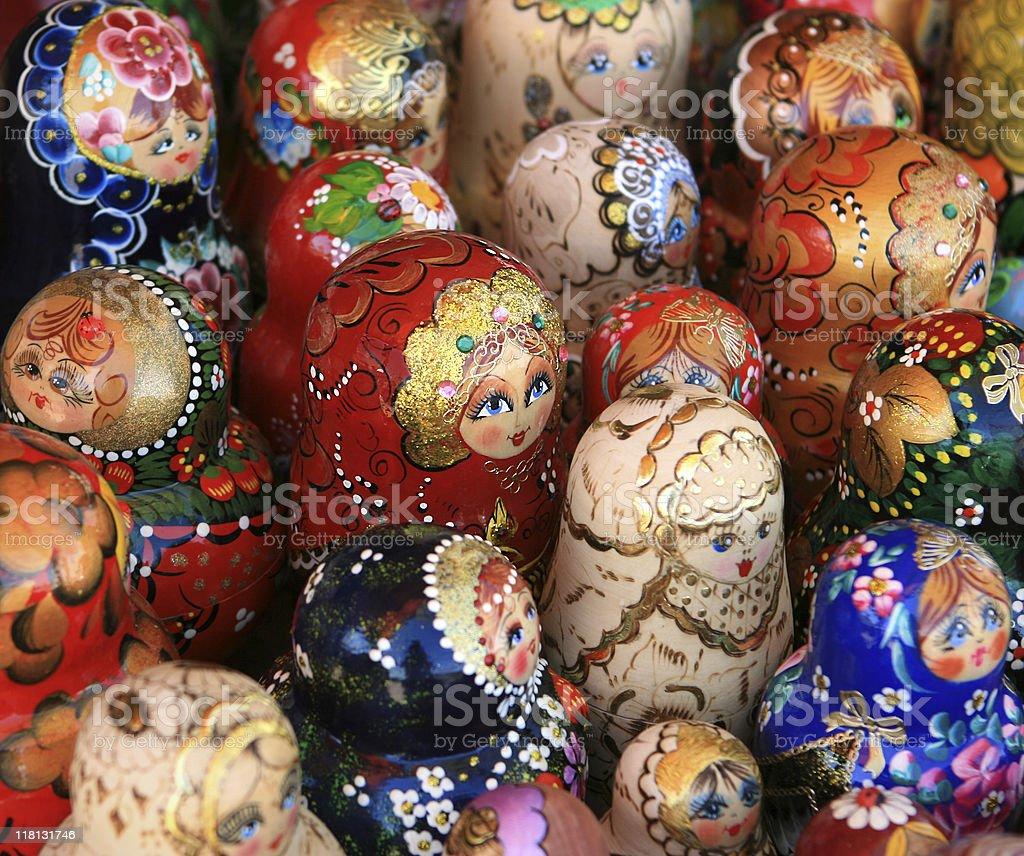 Many Russian Matryoshka Dolls For Sale at the souvenir market stock photo