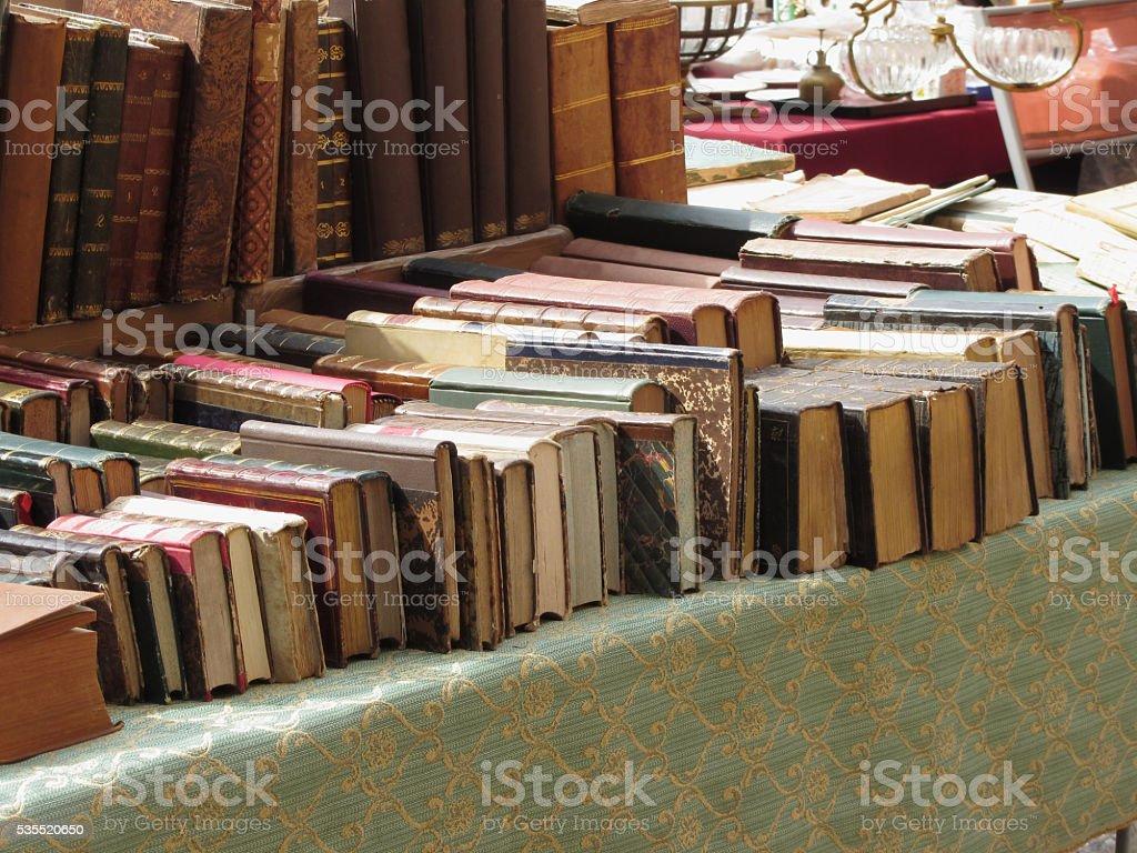 Many second hand books at antique market . Tuscany, Italy stock photo