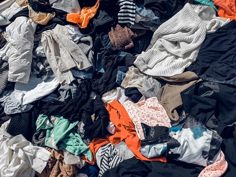 Many second hand clothes are on sale