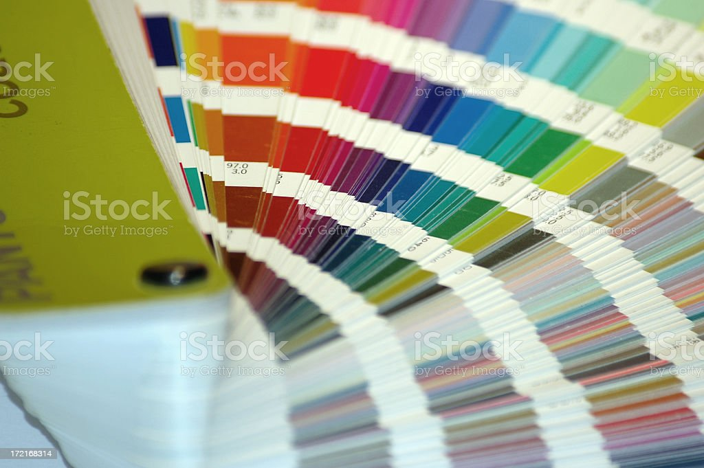 Many shades of paint swatches fanned out  royalty-free stock photo