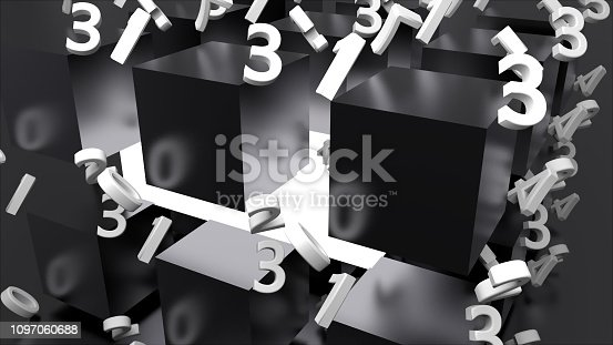 511983606istockphoto Many shiny metal cubes and chaotic numbers, computer generated modern abstract background, 3d render 1097060688