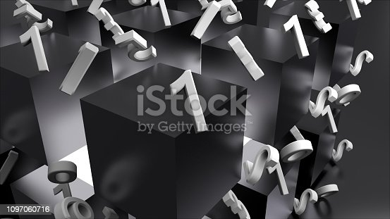 511983606istockphoto Many shiny metal cubes and chaotic numbers, computer generated modern abstract background, 3d render 1097060716
