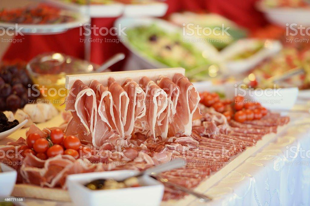 Many slices of ham stock photo