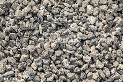 Many small and gray stones