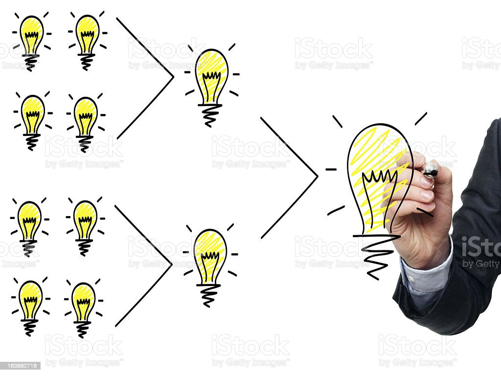 Many small ideas that adds up to one big idea royalty-free stock photo
