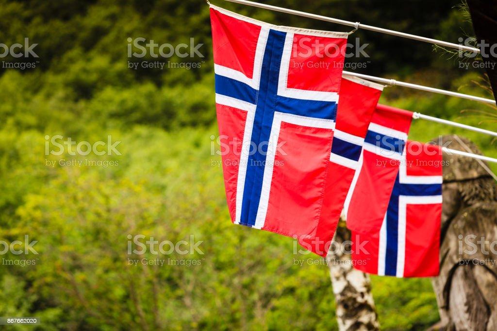 Many small Norway flags in row outdoor - fotografia de stock