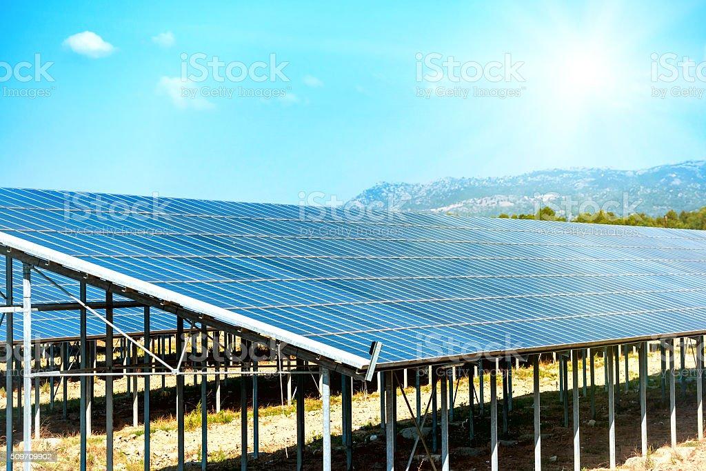Many solar panels stock photo