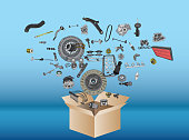 istock Many spare parts flying out of the box 498124378