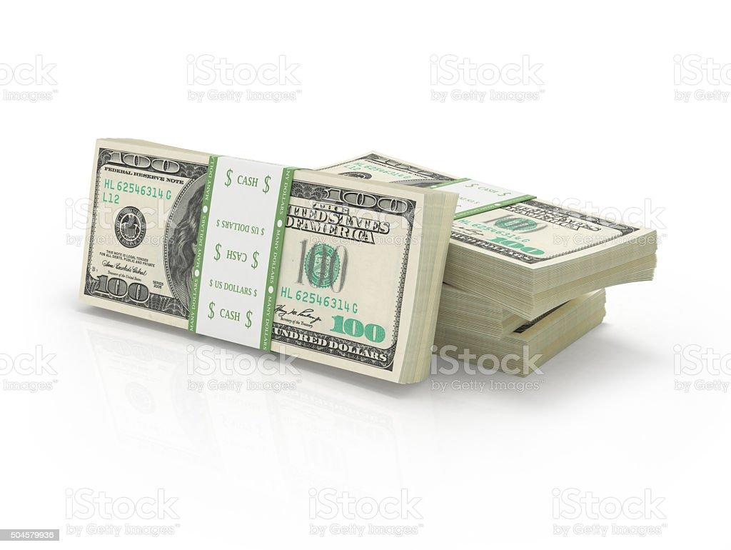many stacks of hundred paper dollar bills stock photo