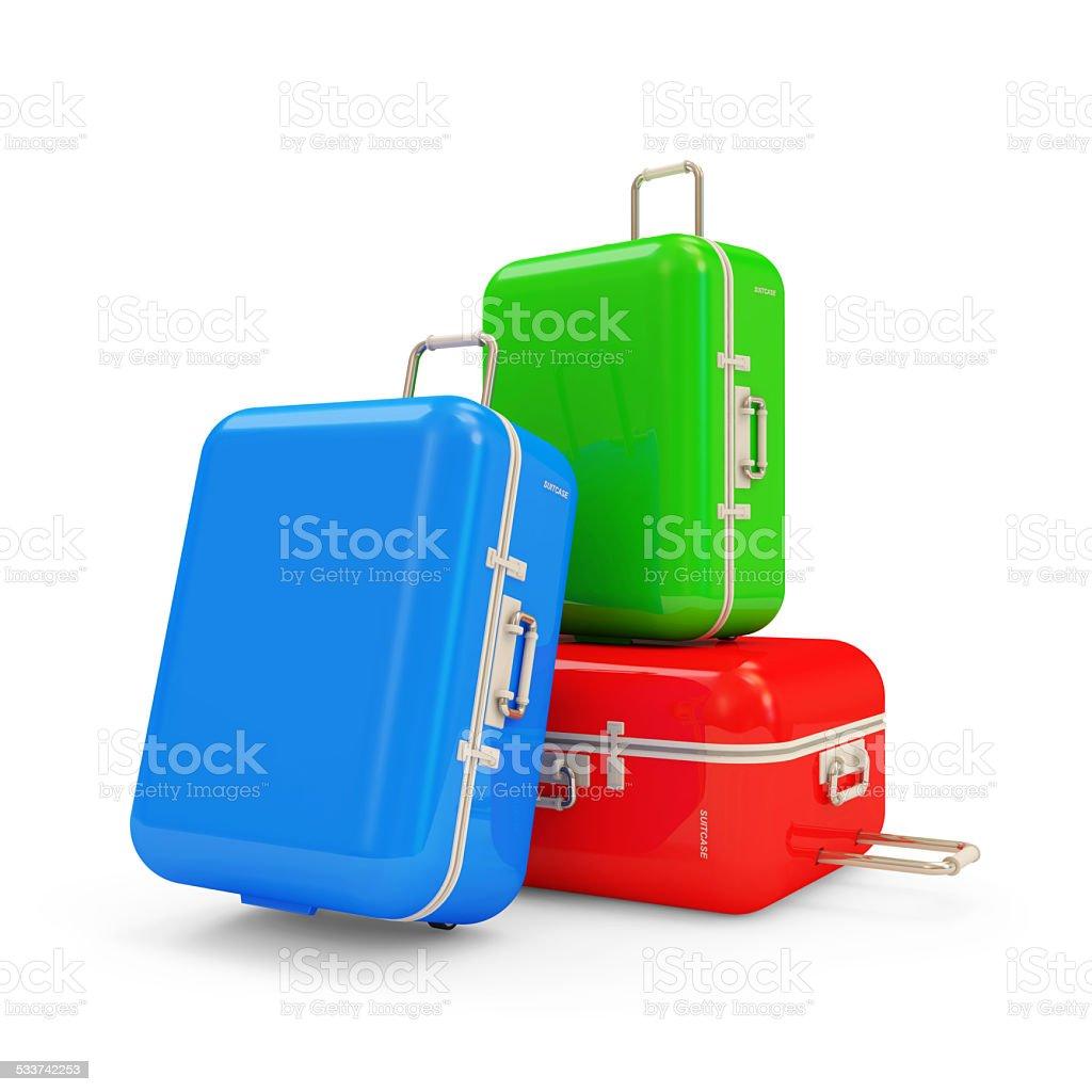 Viele Koffer isoliert auf weißem Hintergrund – Foto