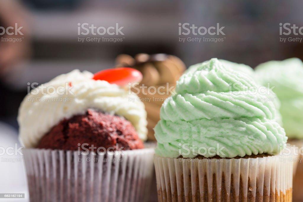 Many sweet handmade muffins close up 免版稅 stock photo
